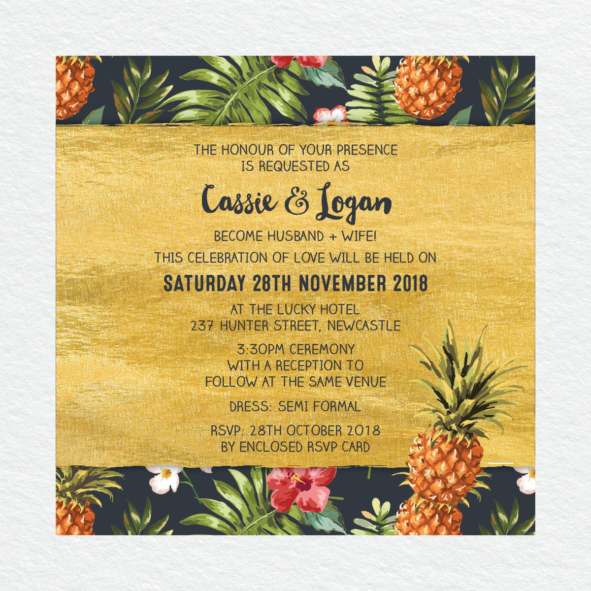 Pineapple Punch Square Invitation