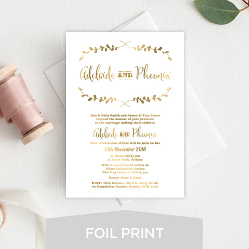 Rustic Laurels Foil Invitation