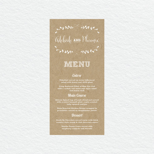 Rustic Laurels Menu