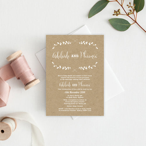 Rustic Laurels Rectangle Invitation