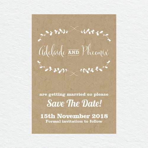 Rustic Laurels Save the Date Card