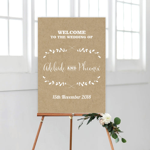 Rustic Laurels Welcome Sign