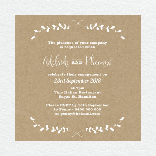 Rustic Laurels Engagement Invitation