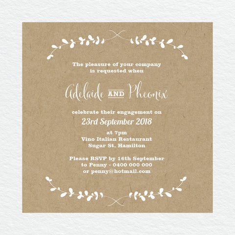 Botanical Wreath Engagement Invitation