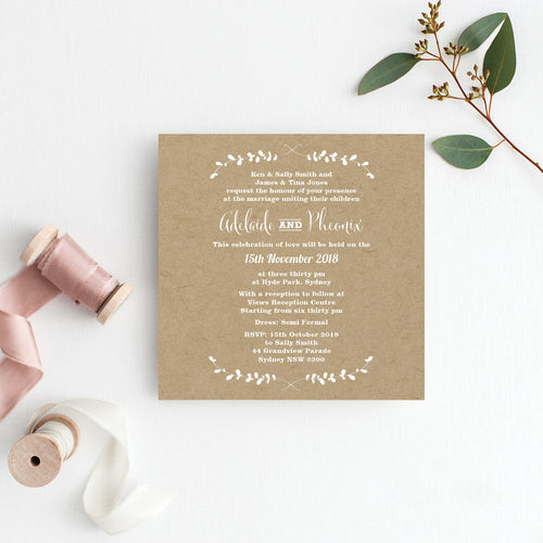 Rustic Laurels Square Invitation