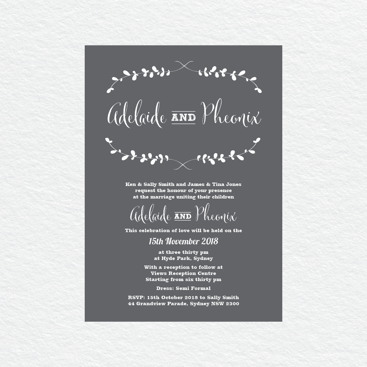 Rustic Laurels White Ink Invitation