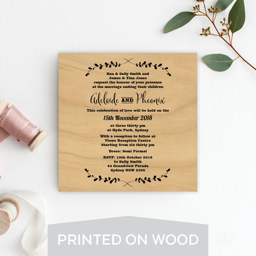 Rustic Laurels Wood Invitation