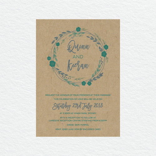 Rustic Wreath Rectangle Invitation
