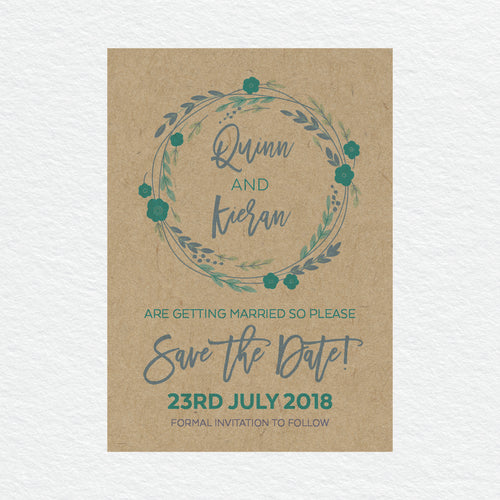 Rustic Wreath Save the Date Card