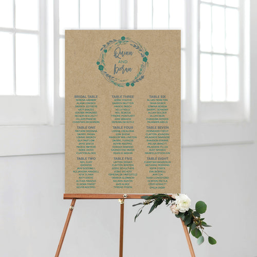 Rustic Wreath Seating Chart