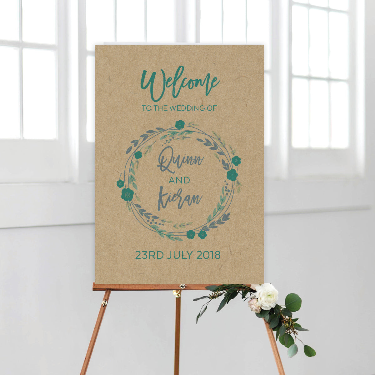 Rustic Wreath Welcome Sign