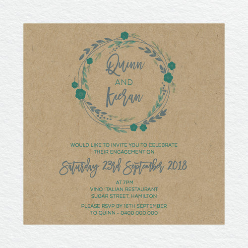 Rustic Wreath Engagement Invitation