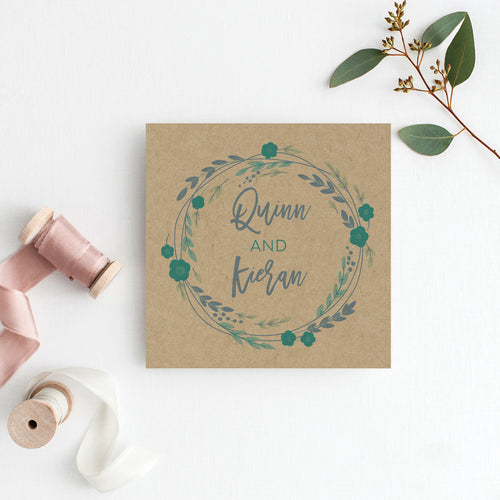 Rustic Wreath Square Invitation