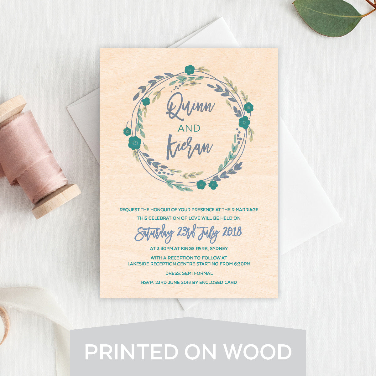 Rustic Wreath Wood Invitation