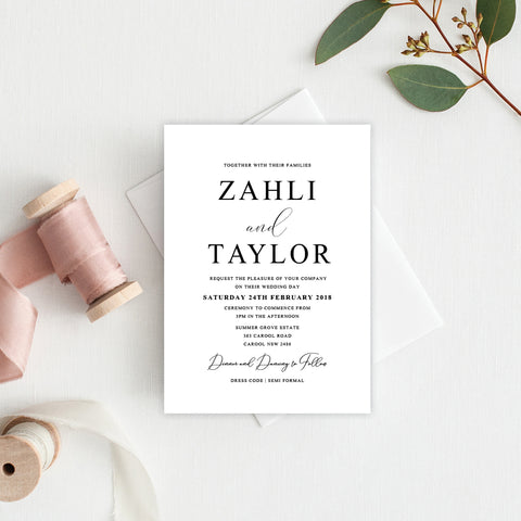 Modern Monogram Square Invitation