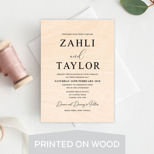 Serendipity Wood Invitation