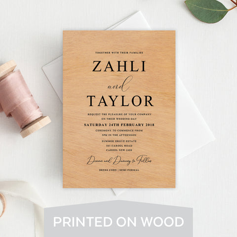 Sweet Type Wood Invitation