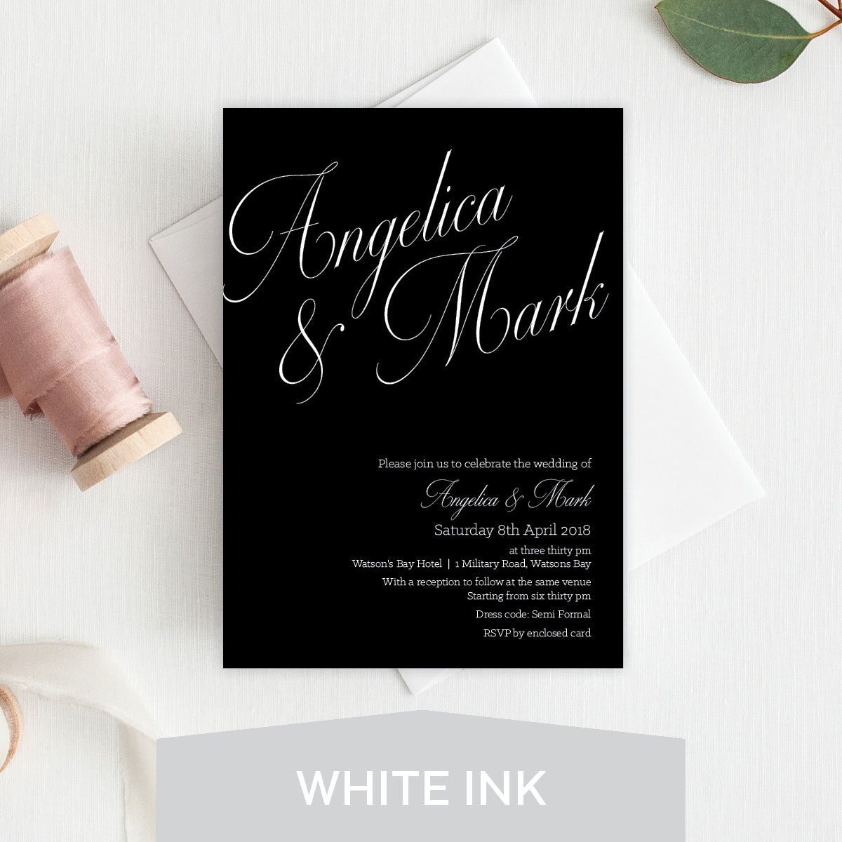 So Sweet White Ink Invitation