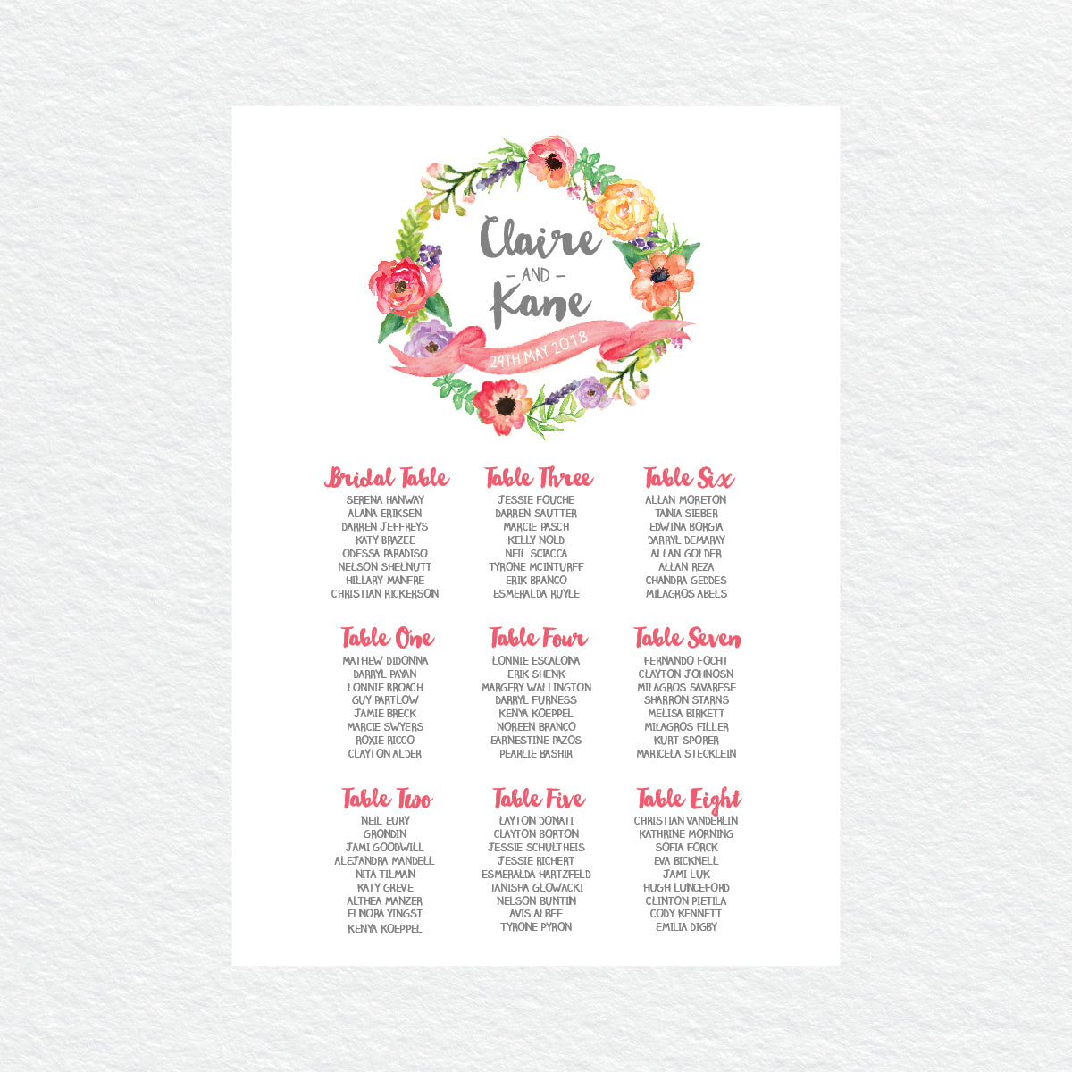 Spring Sweetness Seating Chart