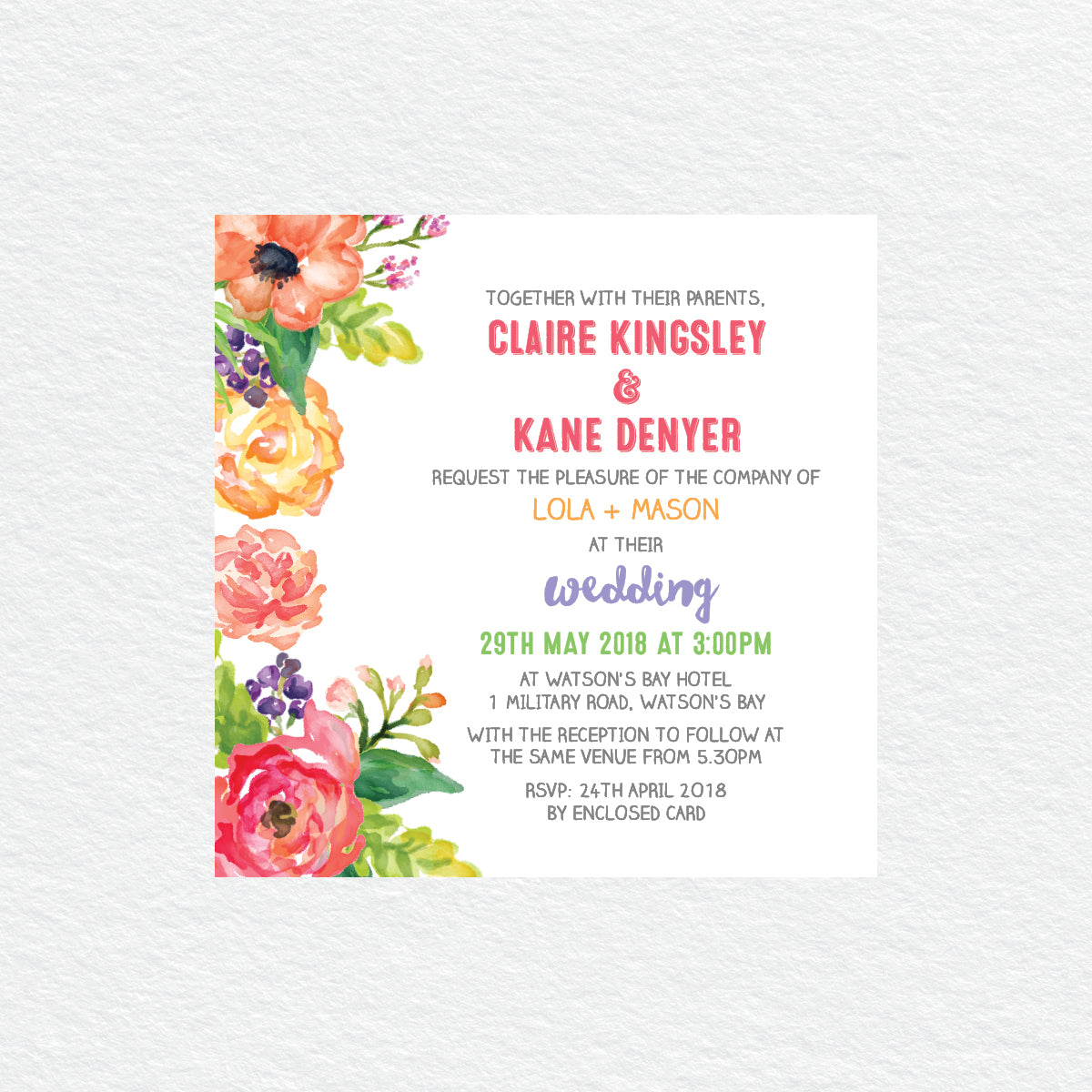 Spring Sweetness Square Invitation