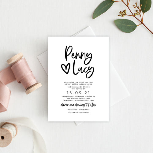 Sweet Heart Rectangle Invitation