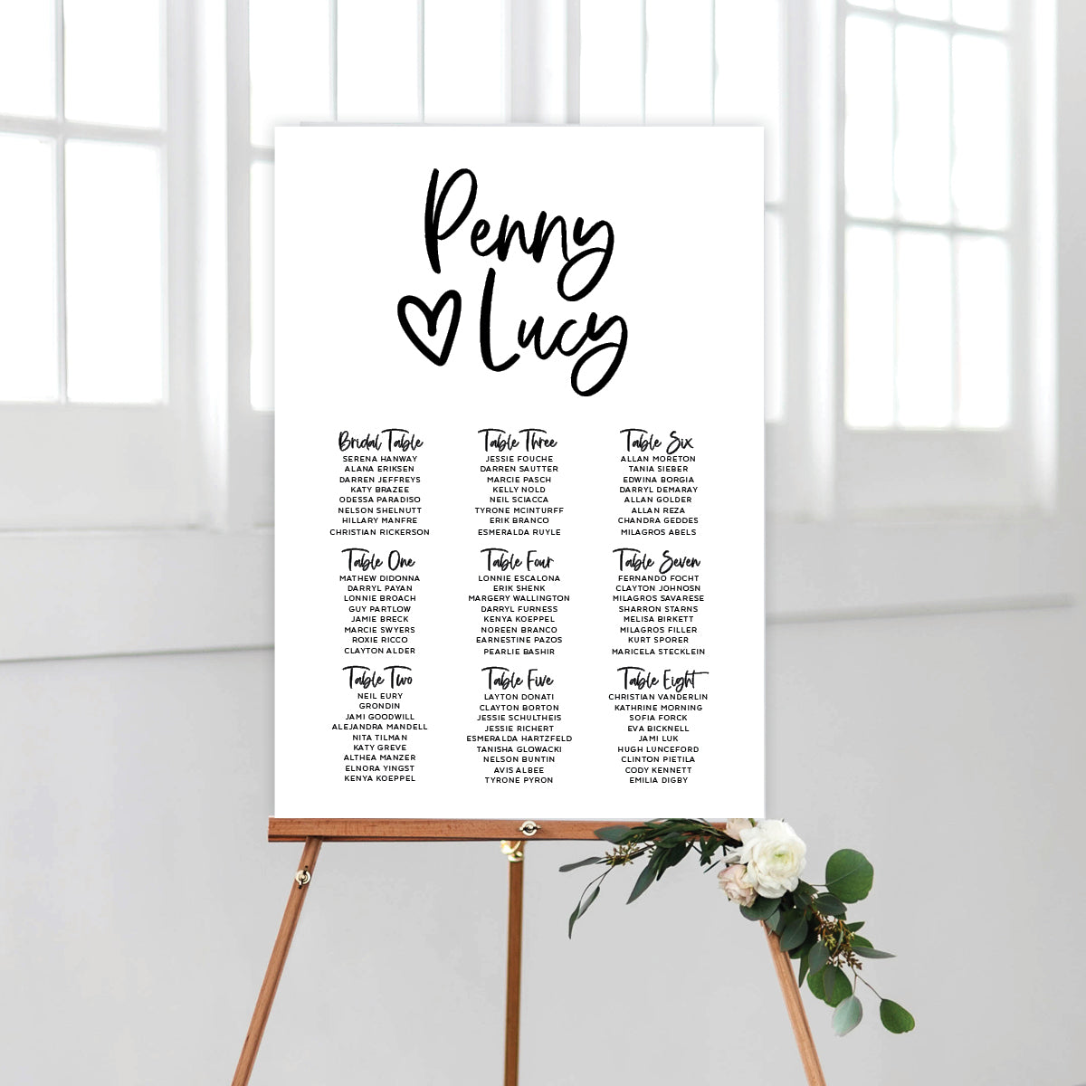 Sweet Heart Seating Chart