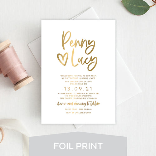 Sweet Heart Foil Invitation
