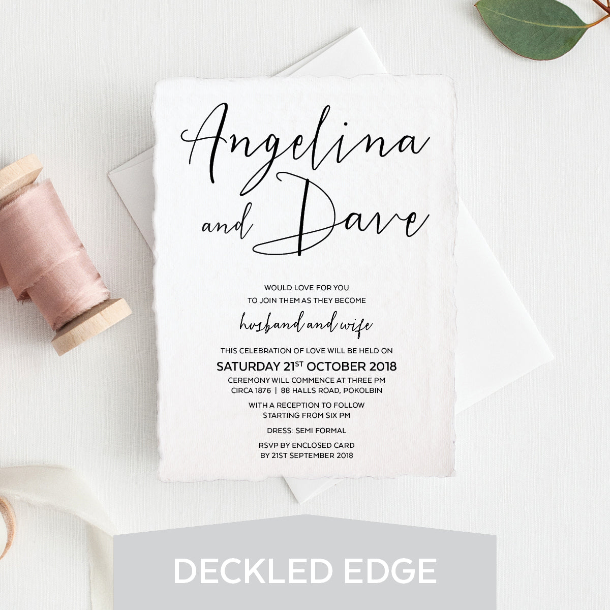 Sweet Type Deckled Edge Invitation