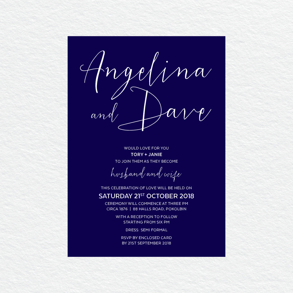 Sweet Type White Ink Invitation