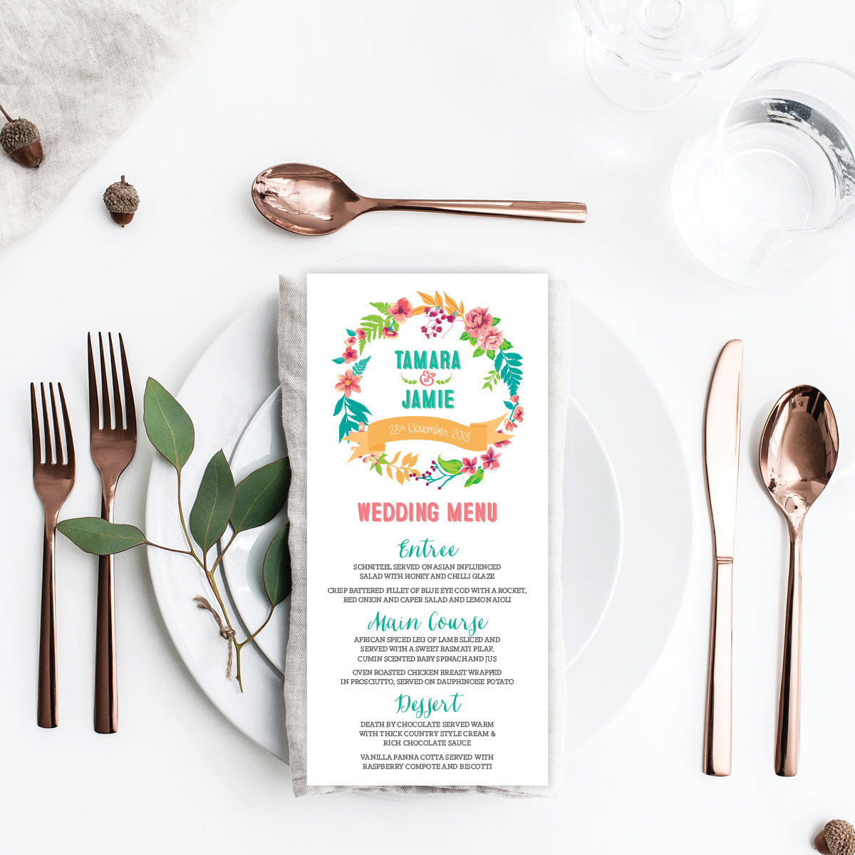 Tropical Celebration Menu