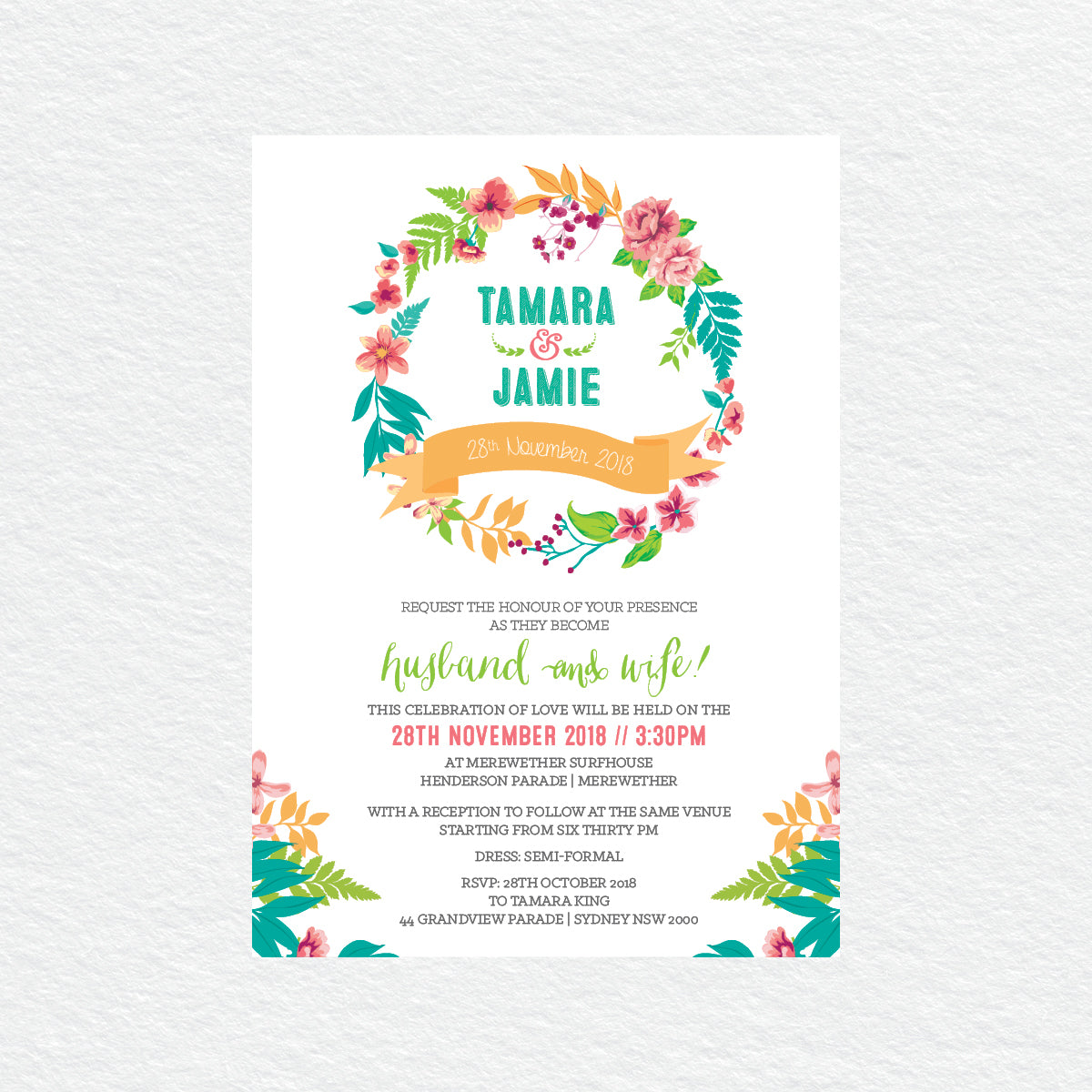 Tropical Celebration Rectangle Invitation