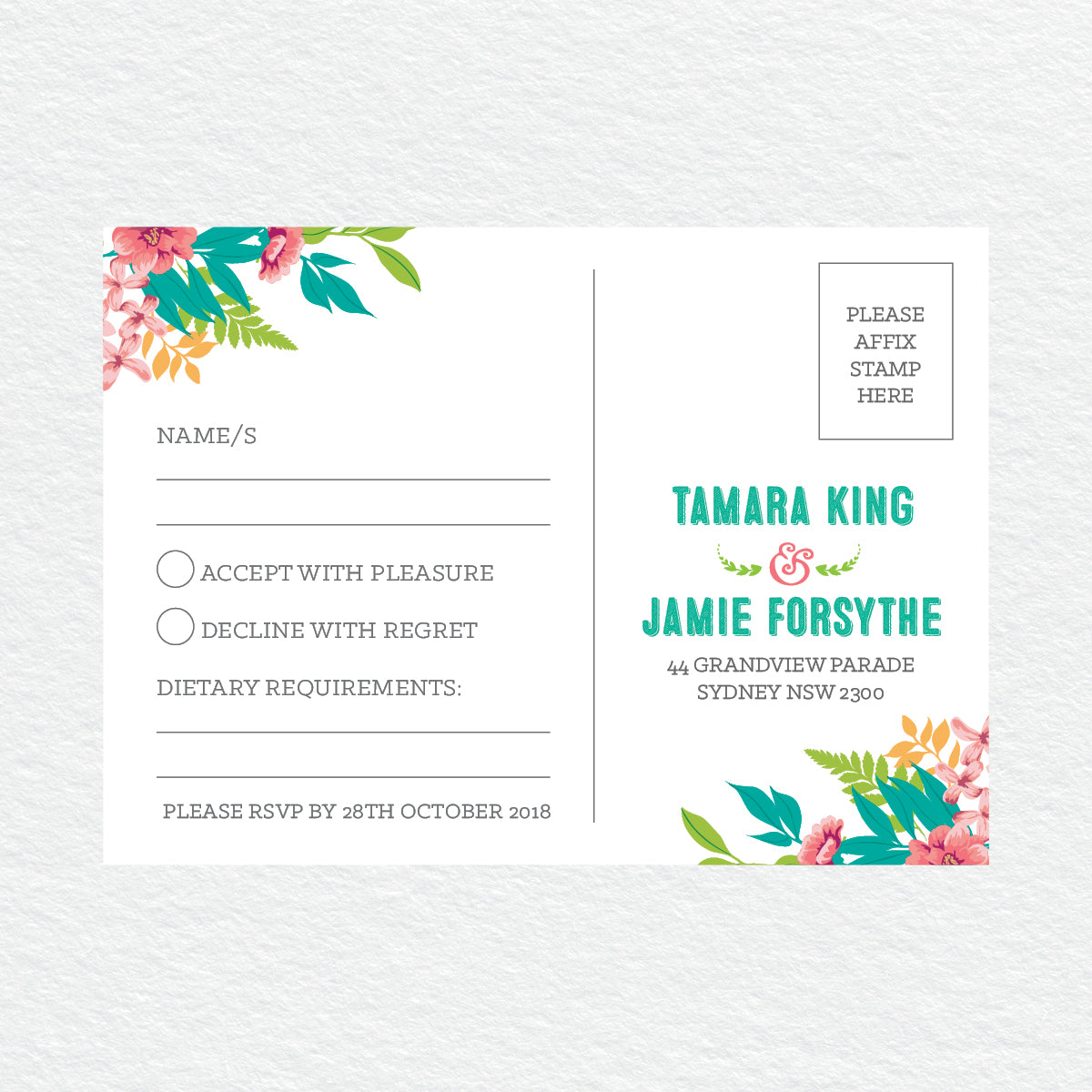 Tropical Celebration RSVP Card