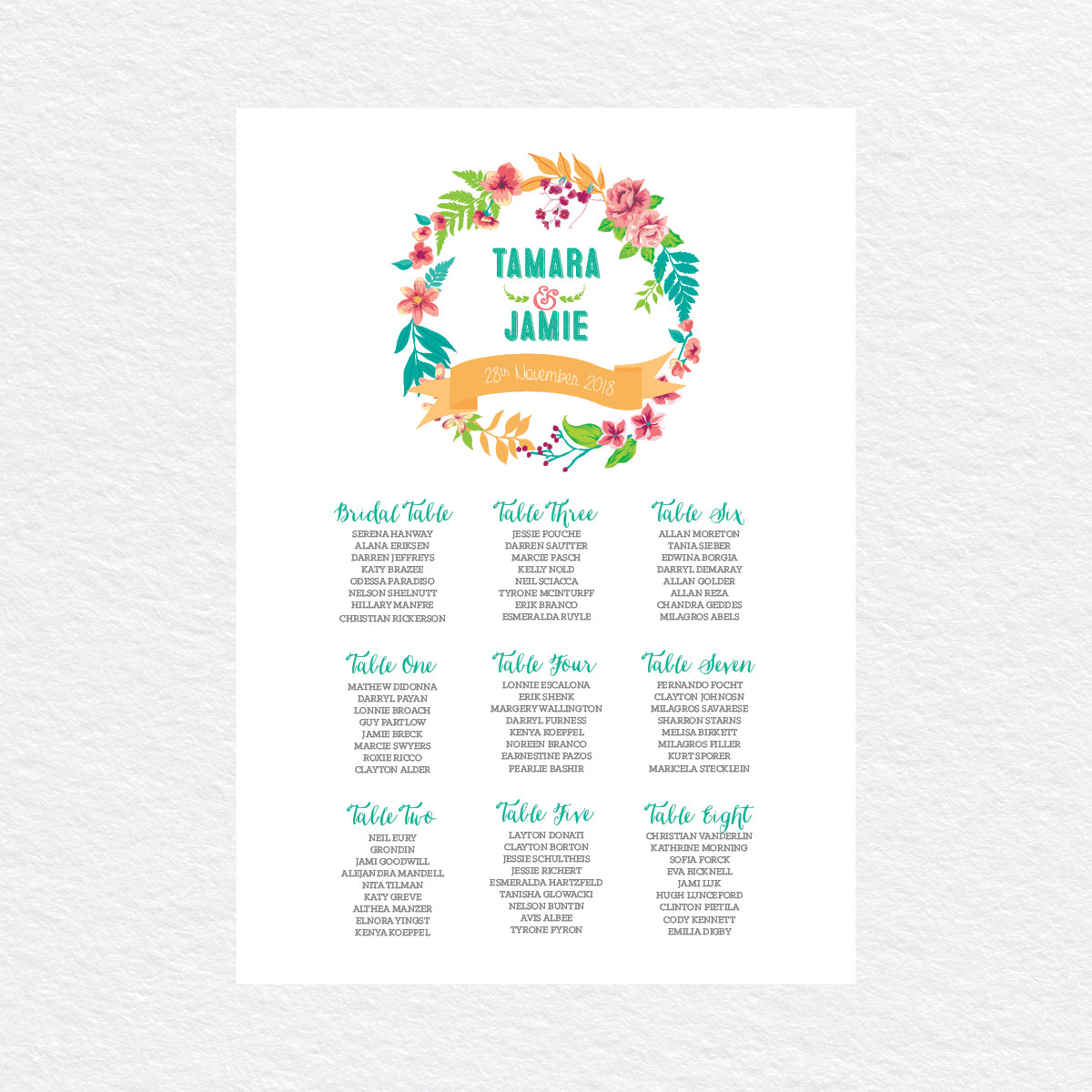 Tropical Celebration Seating Chart