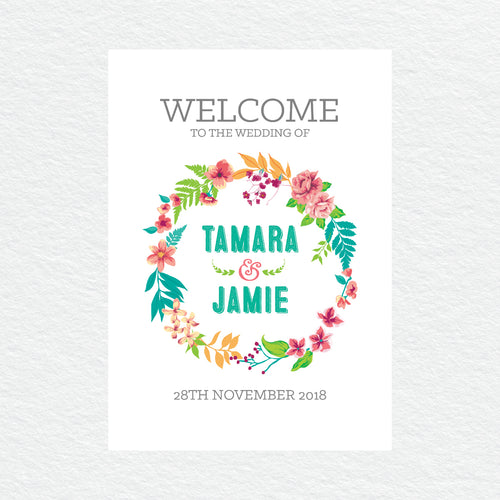 Tropical Celebration Welcome Sign