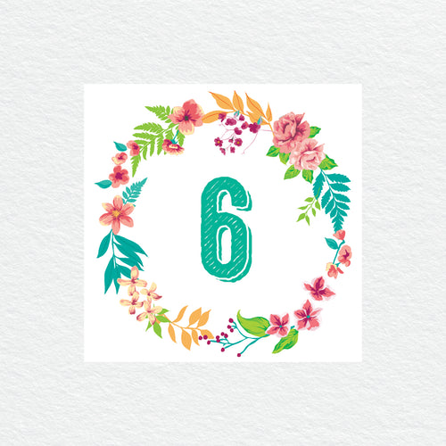 Tropical Celebration Table Numbers