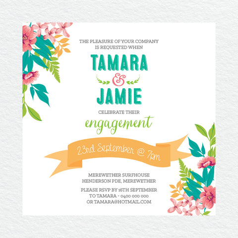 Modern Monogram Engagement Invitation