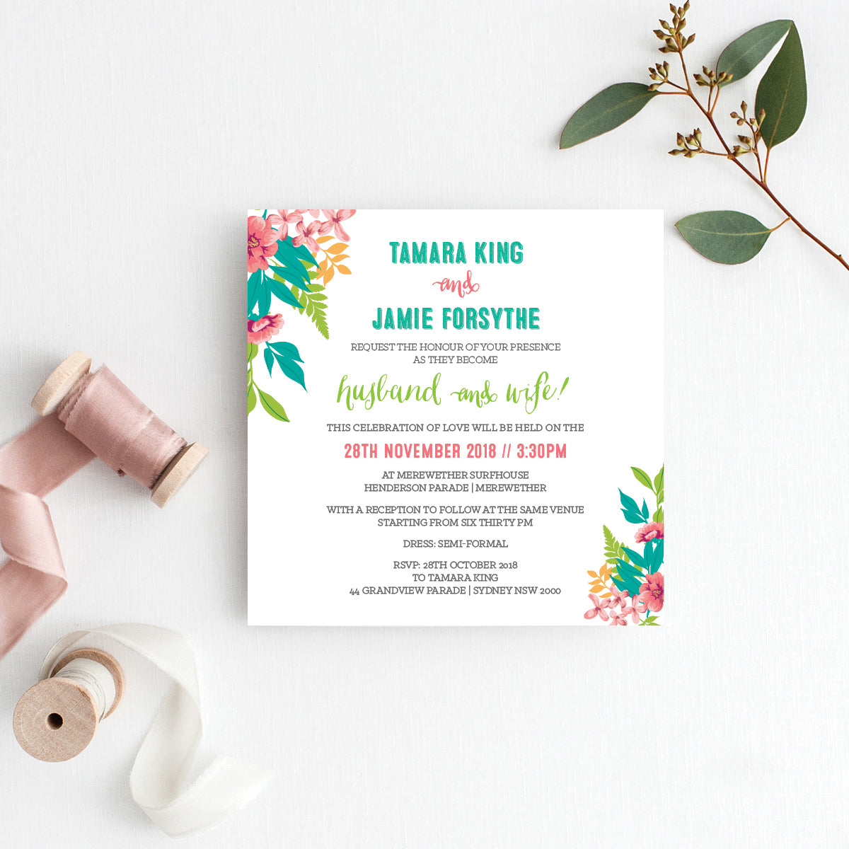 Tropical Celebration Square Invitation