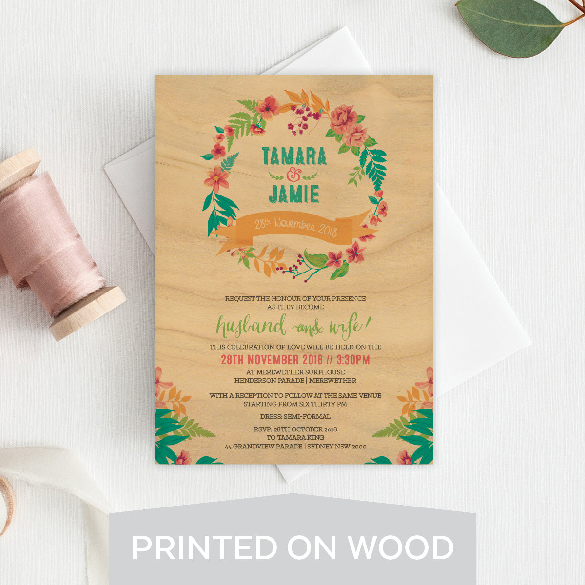 Tropical Celebration Wood Invitation