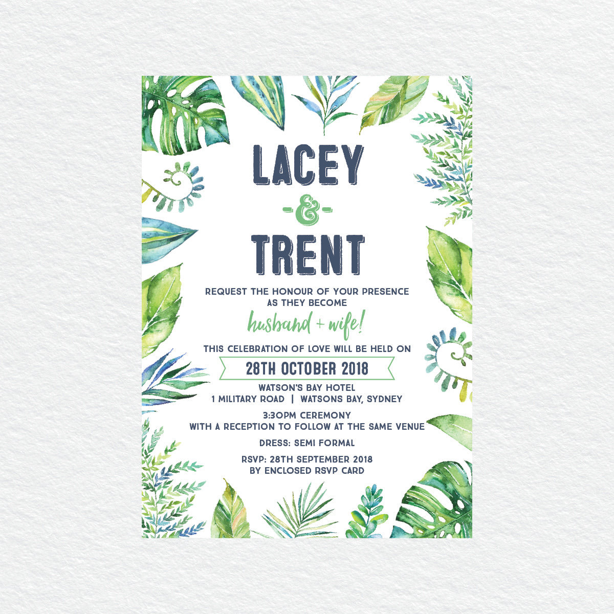 Tropicana Rectangle Invitation
