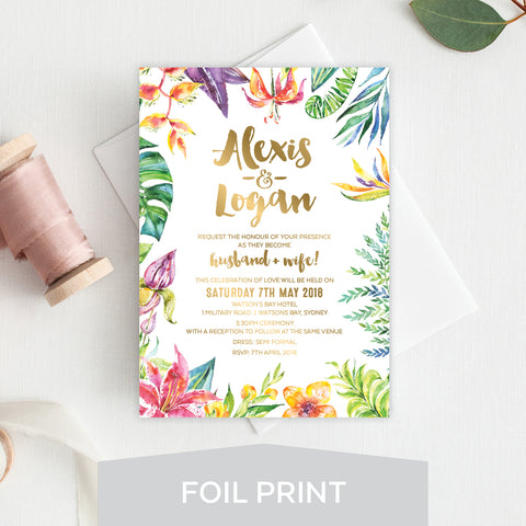 Botanical Wreath Foil Invitation