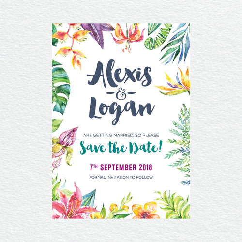 Vibrant Tropfest Save the Date Card