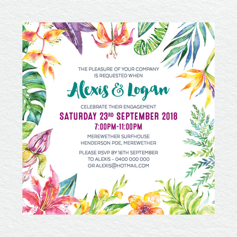 Watercolour Love Engagement Invitation