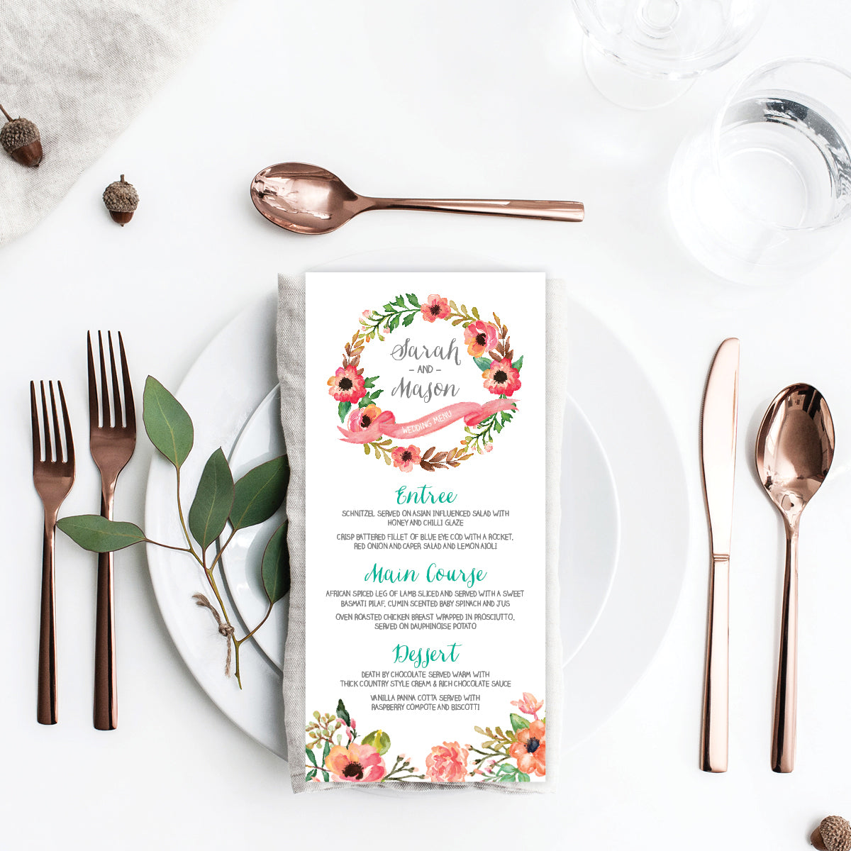 Watercolour Blooms Menu