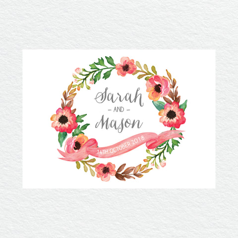 Watercolour Blooms Wishing Well Card