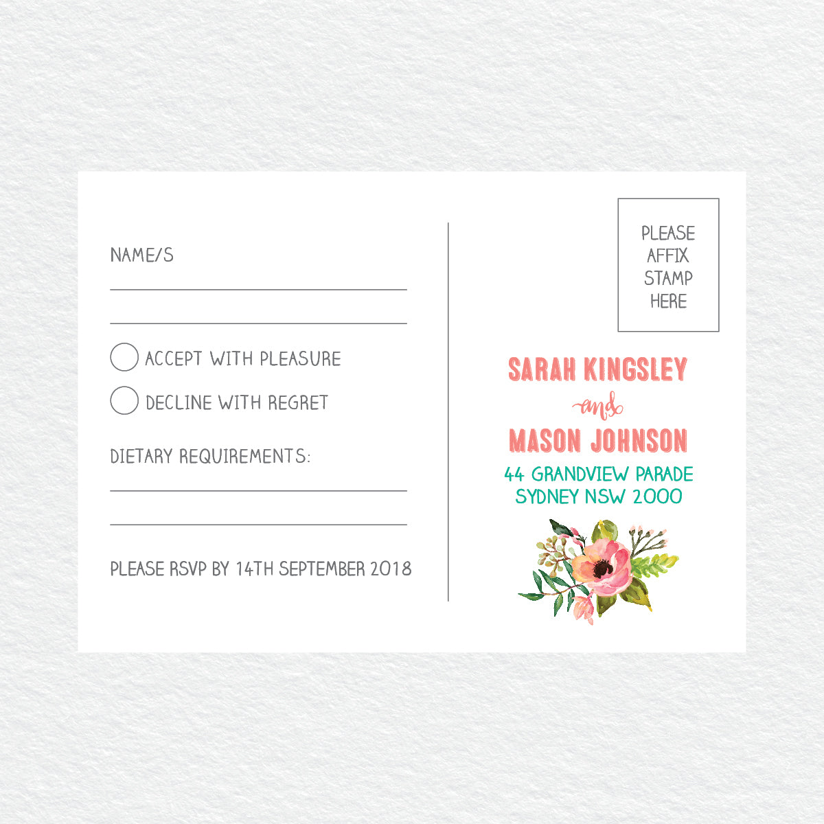Watercolour Blooms RSVP Card