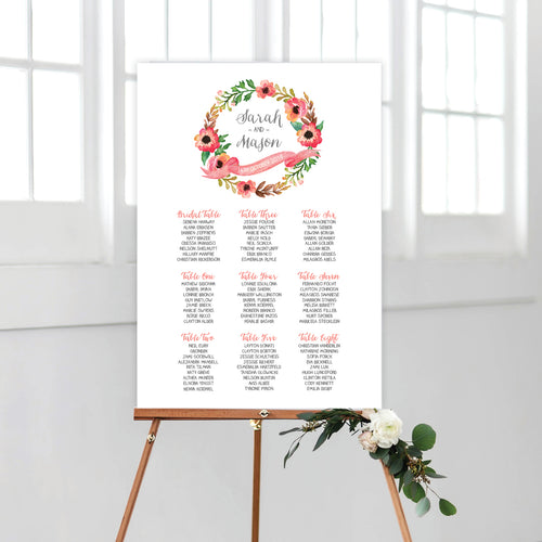Watercolour Blooms Seating Chart