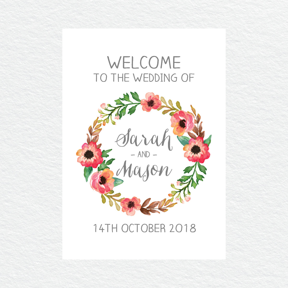 Watercolour Blooms Welcome Sign