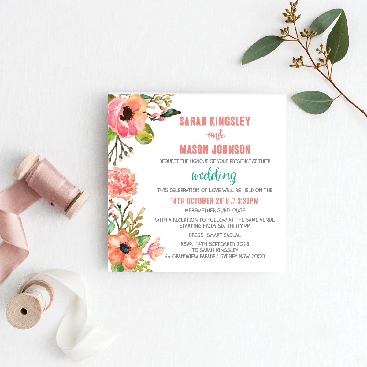 Watercolour Blooms Square Invitation