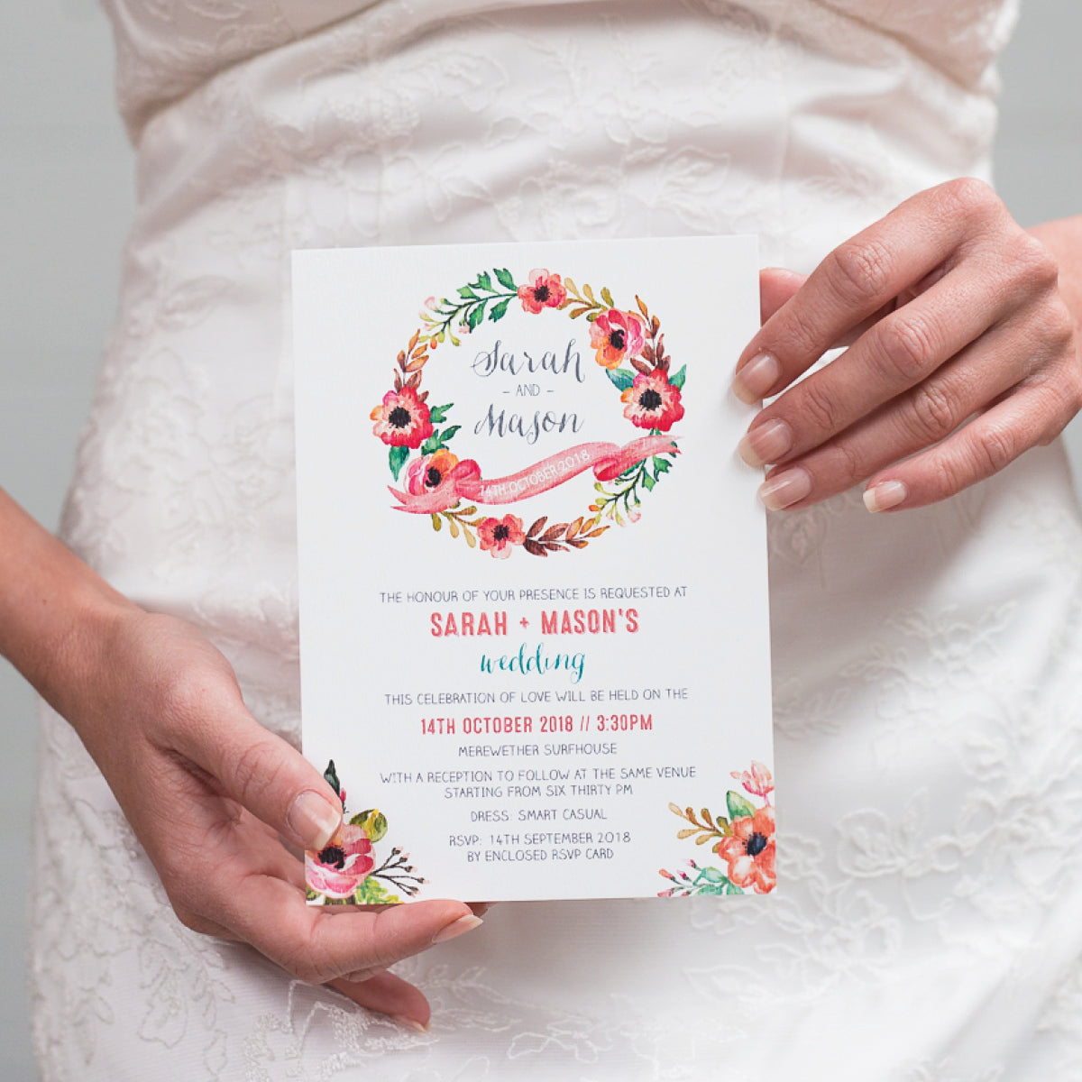 Watercolour Blooms Rectangle Invitation