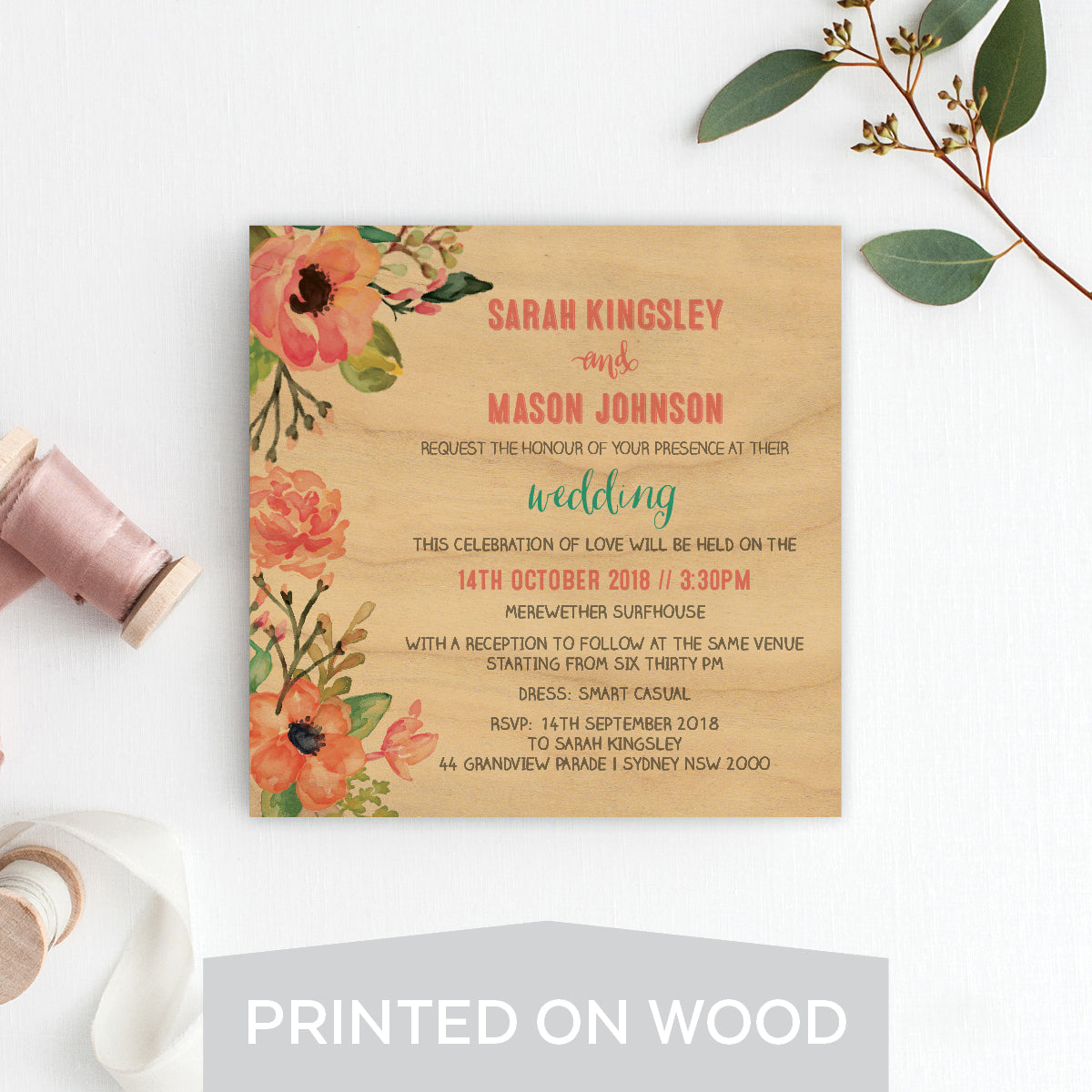 Watercolour Blooms Wood Invitation